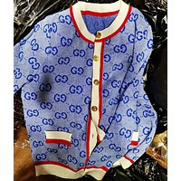 GUCCI Autumn And Winter Fashion New More Letter Print Coat Cardigan Blue