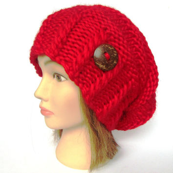 Slouchy beanie hat scarlet red wool slouch hats irish handknit beanies knitted hats for women gift for her with button accessory cherry
