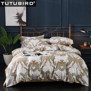 TUTUBIRD 100% Egyptian cotton bedding sets bedsheet Duvet Cover Europe style satin soft covers  pillowcase queen king size