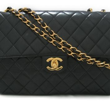 CHANEL Jumbo Classic Flap Chain Shoulder Bag Quilted Leather Black