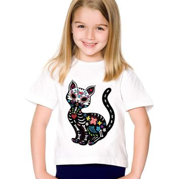 Cat Sugar Skull Children Funny T-shirts Kids Summer Short Sleeve