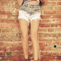 Ombre Bleached High Waisted Denim Shorts