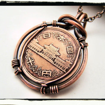 039 Unique Japanese Copper Foreign Coin Pendant with by tescar