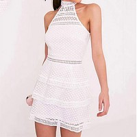 Hot hanging neck slim ruffled skirt sexy sleeveless lace dress white