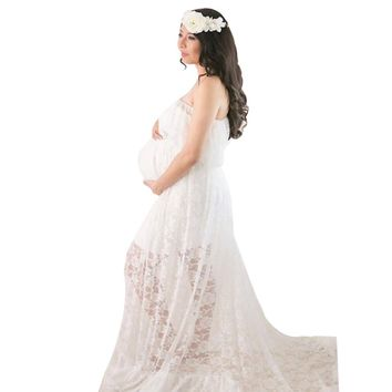 Maternity dress Photography Props Pregnant For Photo Shoot Maternity Clothes Long Lace Dress drop shipping