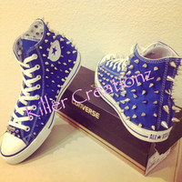 Silver spiked High Top Converse ANY SIZE/COLOR (made to order)
