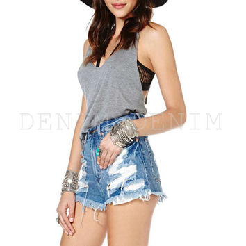Womens So Ripped Vintage Shredded Cutoff Shorts Summer Denim