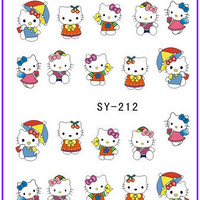 1X Nail Sticker Hello Kitty Water Transfers Stickers Nail Decals Stickers Water Decal Opp Sleeve Packing SY212