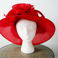 VINTAGE Metallic Crimson RED Derby Rose MASSIVE Hat Avant Garde