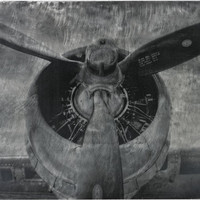 "0-013502>24""h World War II Airplane Print Etched Print on Aluminium Aluminum"