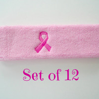 Set of 12 Terry Headband/Sweatbands Pink Breast Cancer Ribbon Custom Embroidery  Fundraiser
