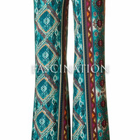 Diamond Pattern Palazzo Pants - Teal