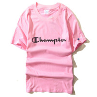 """champion""fashion   print women round neck short sleeve Top T-shirt man"