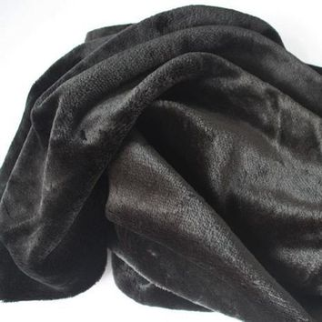Soft Black Faux Fur Fabric  Costumes Cosplay Crafts Blankets Size Sold By The Yard Free Shipping