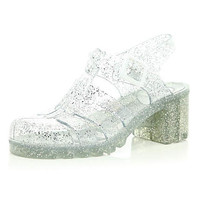 Silver glitter block heel jelly sandals - sandals - shoes / boots - women