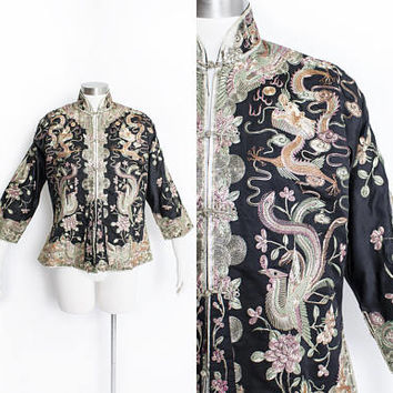 Antique Chinese Silk Jacket - Metallic Embroidered Black Satin Asian Vintage 1920s - Medium
