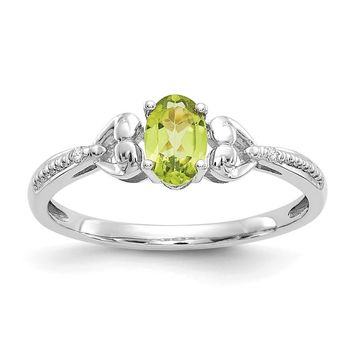 10k White Gold Oval Genuine Peridot Diamond Hearts Ring