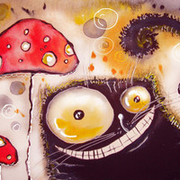 cat and poison mushrooms ))) Art Print by Main | Society6
