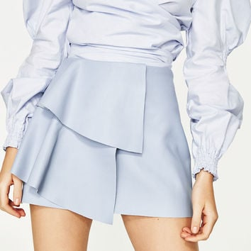 LEATHER-EFFECT MINI SKIRT WITH FRILLS