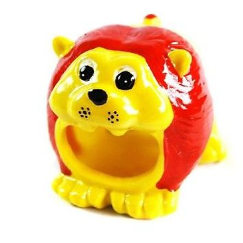 Cute Portable Lion Head Design Ceramic Pet Hamster House Cage,3.2*2.8*2.6 in
