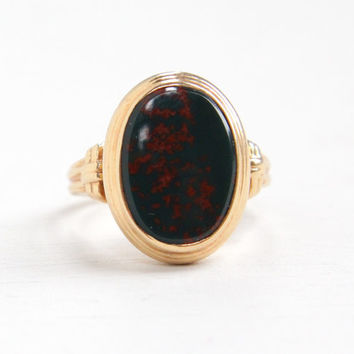 Vintage 14K Yellow Gold Bloodstone Ring - Art Deco 1930s Hallmarked Green & Red Oval Gem Size 4 3/4 Fine Statement Jewelry