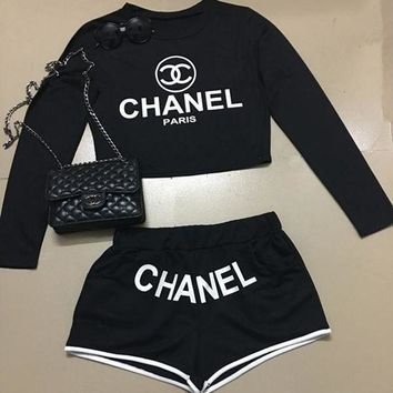 ONETOW Chanel Fashion Cami Crop Long Sleeve Shirt Top Tee Pullover Shorts Set Two-Piece Sportswear