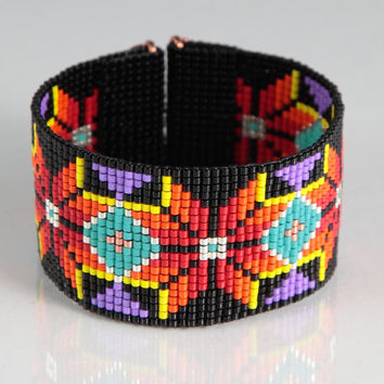 Native American Style Boho Bead Loom Bracelet,  Artisanal Jewelry,  Southwestern, American Indian Motif Jewelry, Western, Beaded Bright