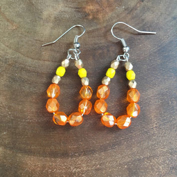 Orange Hoop Earrings, Yellow, Gold, Beaded Earrings, Teardrop Earrings, Glass Beaded Earrings, Womens Earrings