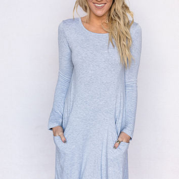 the Robin Long Sleeve Tunic Dress In Gray