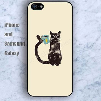 Lightning black cat colorful iPhone 5/5S Ipod touch Silicone Rubber Case, Phone cover