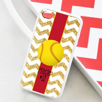Softball Gold Glitter Chevron iPhone Case - Monogrammed Softball iPhone Case - iPhone 4 Case - iPhone 5 Case - iPhone 5s Case