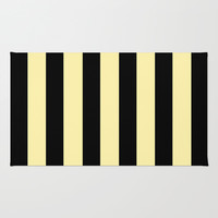 Black and Cream Stripes Rug by Kat Mun