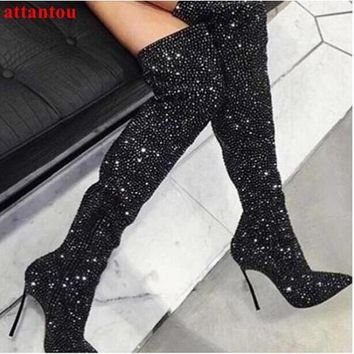 chic crystal women long boots pointed toe metal thin high heel shoes over-the-knee zipper sexy graceful footwear