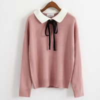 womens sweaters winter 2018 harajuku kawaii korean autumn clothes women fashion bow tie with pink color knitted sweater women