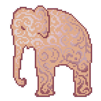 Elephant  -  A set of five cross stitch patterns in PDF - INSTANT DOWNLOAD