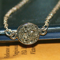 Small Silver Druzy Necklace, gift for mothers day, gifts under 20