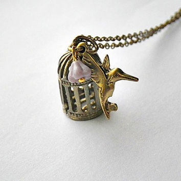 SALE! Free as a bird: bird cage, hummingbird and bell flower charm necklace in antique gold or brass