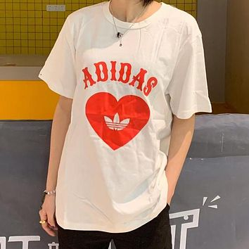 Adidas Fashionable Women Men Comfortable Red Heart Print T-Shirt Top White