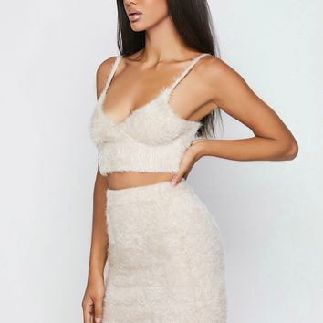 Cupids Bow Fuzzy Bodycon Two Piece Set Nude