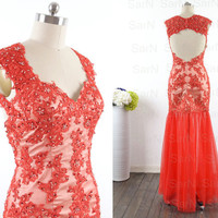 Lace Long Prom Dresses, Custom Red Open Back Lace Long Formal Gown, Lace Straps Sweetheart Long Lace Prom Gown