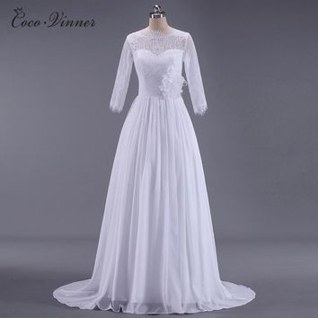 C.V Vestido De Noiva BOHO Lace Country Wedding Dress 2018 New 3/4 Sleeve Plus Size A line Mariage Behemian Wedding Dresses W0145