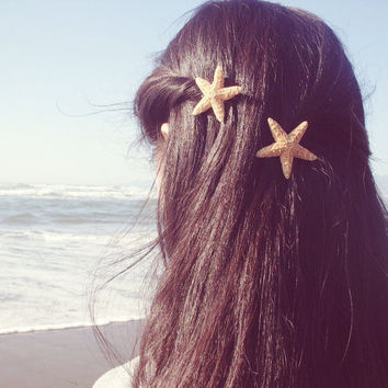 Starfish Hair Clips - Set of Two - Natural Beach Boho - Cute Adorable - Romantic - Whimsical Whimsy - Dreamy Sea Stars - Mermaid Collection