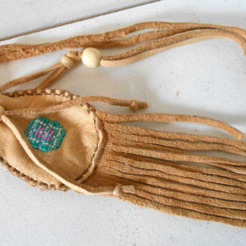 Beaded Medicine Bag, Small Leather Pouch, Native American, Handmade, Fringe Amulet Pouch, Hippie, Boho, Gypsy, Handmade
