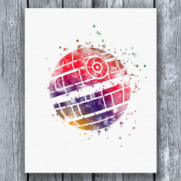 Death Star Star Wars Watercolor Art Print Instant Download