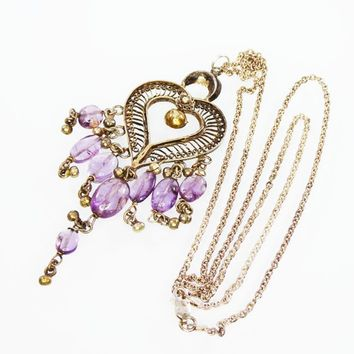 Sterling Silver BOHO Heart Pendant & Chain Necklace, Marked 925 Filigree Heart w/Purple Amethyst and Danging Beads, Vintage 1970's, Hippie