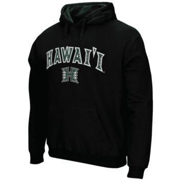 Men's Black Hawaii Warriors Arch & Logo Tackle Twill Pullover Hoodie