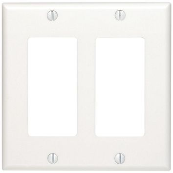 UNION 80409W Residential-Grade Decor Wall Plates (Dual gang; White)