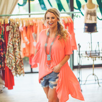 Beach Bronzed Top in Neon Coral
