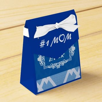 Customizable Navy Blue Best Mom ever Favor Box