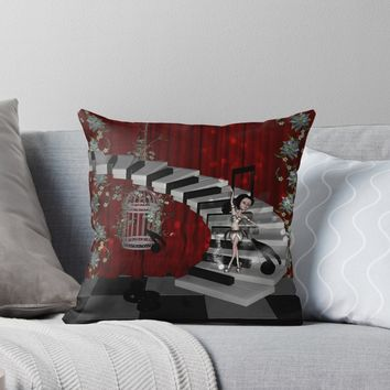 'Dancing fairy on the piano' Throw Pillow by nicky2342